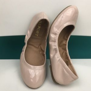 Report patent leather scrunched ballerina flats